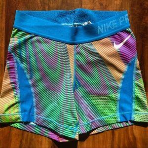 Multi-colored Nike Pro Shorts